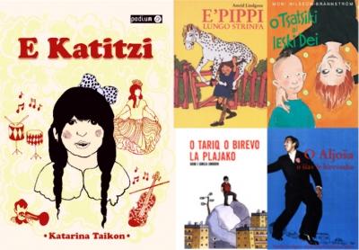 Ruotsissa saatavilla olevien romaninkielisten kirjojen kansia http://modersmal.skolverket.se/romani