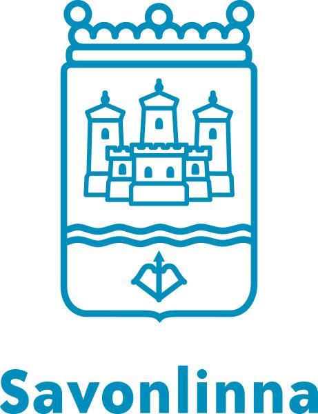 Savonlinan sininen logo jossa kaupungin vaakuna jossa on kuvattu Savon linna sekä sen alla teksti Savonlinna.
