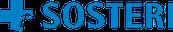 Sosterin sininen logo jossa teksti Sosteri ja sen edellä sininen risti jonka oikeaan reunaan on tyylitelty linnan torni.